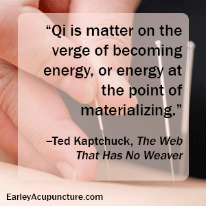 Qi is matter on the verge of becoming energy, or energy at points materializing.
